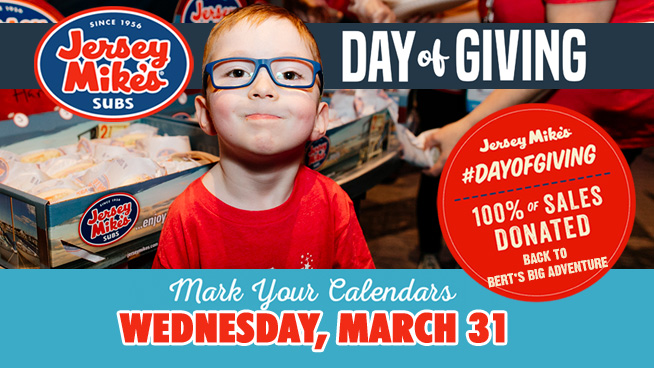 Jersey Mike's Day of Giving Returns on Wednesday, March 31st